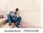 single sad man checking mobile...   Shutterstock . vector #793221556