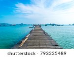 the old wooden jetty at... | Shutterstock . vector #793225489