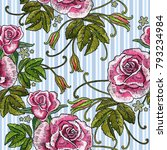 embroidery roses and blue... | Shutterstock .eps vector #793234984