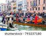 masquerade boats  in venice _... | Shutterstock . vector #793237180