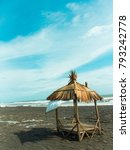 bungalow on the beach with blue ... | Shutterstock . vector #793242778
