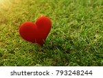 red heart on grass. | Shutterstock . vector #793248244