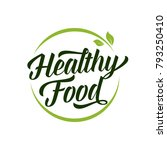 healthy food lettering in round ... | Shutterstock .eps vector #793250410
