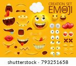 Yellow smiley face emoji character for your scenes template. Emotion big collection. Vector illustration | Shutterstock vector #793251658