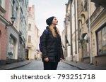 portrait of teen girl walking... | Shutterstock . vector #793251718