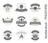 camping logos templates vector... | Shutterstock .eps vector #793257490