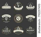 Stock vector motorcycles logos templates vector design elements set vintage style emblems and badges retro 793257493
