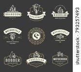 motorcycles logos templates... | Shutterstock .eps vector #793257493