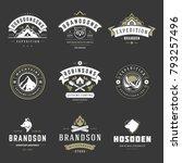 camping logos templates vector... | Shutterstock .eps vector #793257496