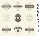 luxury logos templates set ... | Shutterstock .eps vector #793257580