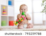 cute baby in diaper sits on... | Shutterstock . vector #793259788