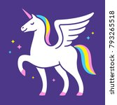 winged unicorn illustration.... | Shutterstock . vector #793265518