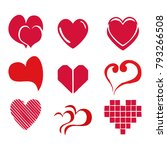 vector hearts. set for wedding... | Shutterstock .eps vector #793266508