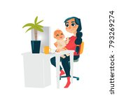 young mother  woman  girl... | Shutterstock .eps vector #793269274