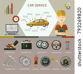 vector flat car service... | Shutterstock .eps vector #793269820