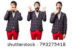 set of well dressed man making... | Shutterstock . vector #793275418