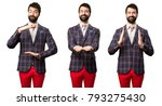 set of well dressed man holding ... | Shutterstock . vector #793275430