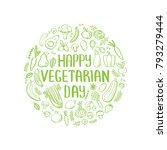 happy vegetarian day vector... | Shutterstock .eps vector #793279444