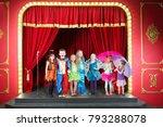 seven happy children in... | Shutterstock . vector #793288078