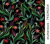 embroidery colorful floral... | Shutterstock .eps vector #793290214