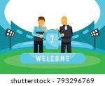 light blue team sign new player ... | Shutterstock .eps vector #793296769