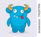 cute cartoon monster.  crazy... | Shutterstock .eps vector #793297996
