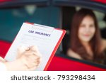 beautiful young woman in redcar ... | Shutterstock . vector #793298434