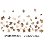 hands with skin color diversity ... | Shutterstock .eps vector #793299268