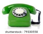 Green Retro Telephone Isolated...