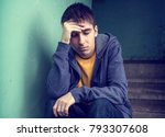 toned photo of sad young man... | Shutterstock . vector #793307608