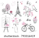 set vector elements   hand... | Shutterstock .eps vector #793316419