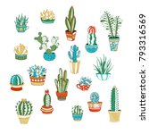 vector set of cactus and... | Shutterstock .eps vector #793316569