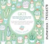 vector outlined cacti... | Shutterstock .eps vector #793316578
