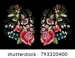 Stock vector colorful vintage flower embroidery 793320400