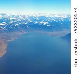Small photo of Landscape of Leman Lake, Switzerland, from above, end side of Montreux, the Alps mountains in background