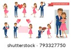 valentine couple characters set.... | Shutterstock .eps vector #793327750