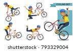 cycling man set. stunt bike... | Shutterstock .eps vector #793329004