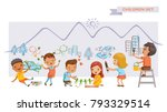 Children art group. Cute kids painting and drawings on the wall. Children's Growing Learning Concept. Funny cartoon character. Vector illustration. Isolated on white background. | Shutterstock vector #793329514