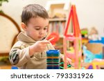 cute child playing with... | Shutterstock . vector #793331926