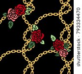 chain pattern with rose... | Shutterstock .eps vector #793334470