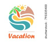 summer travel vacation logo... | Shutterstock .eps vector #793335400