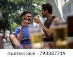 gay couple drinking beer in... | Shutterstock . vector #793337719