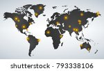 map of world dotted with yellow ... | Shutterstock .eps vector #793338106