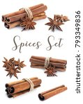 cinnamon stick group with star...   Shutterstock . vector #793349836