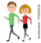 young couple  walking | Shutterstock .eps vector #793350910