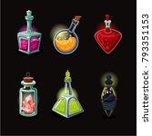 magic bottle set. game design... | Shutterstock .eps vector #793351153