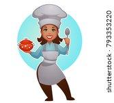 cartoon woman chef  vector... | Shutterstock .eps vector #793353220