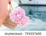 Girl With Straw Bag And Pink...