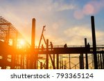 silhouette construction worker... | Shutterstock . vector #793365124