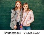 outdoor portrait of two cute... | Shutterstock . vector #793366630